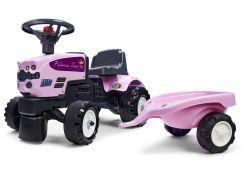 Falk Odstrkovadlo traktor Princess s valníkem růžové
