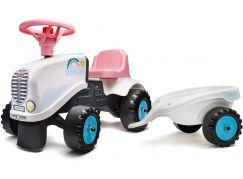 Falk Odstrkovadlo traktor Rainbow bílo růžový s volantem a vlečkou