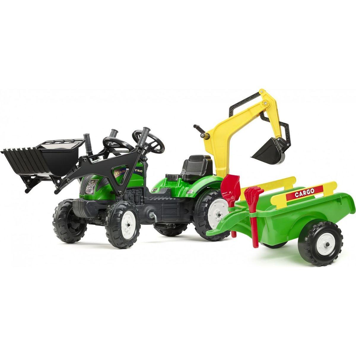 Falk Šlapací traktor Ranch Track zelený s přední i zadní lžící a valníkem