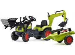 Falk Traktor šlapací Claas Arion 410 s přední a zadní lžící a valník