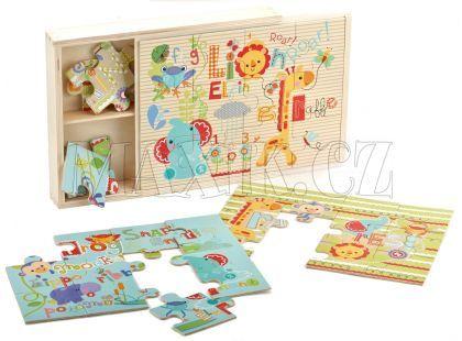Fisher Price Dřevěné puzzle 3v1 36dílků