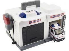 Garáž ambulance + auto 15 cm se světlem se zvukem