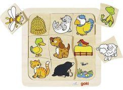 Goki Dřevěné puzzle Kdo kde bydlí?