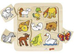 Goki Dřevěné puzzle Kdo ke komu patří?
