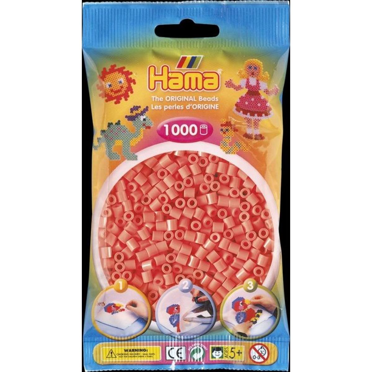Hama H207-44 Midi Pastelově červené korálky 1000 ks
