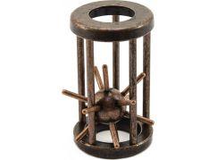 Hlavolam ježek v kleci kovový hnědý