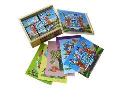 HM Studio Dřevěné obrázkové kostky 12 ks