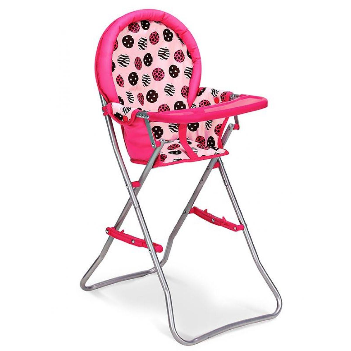 HM Studio Jídelní židlička růžová s kolečky