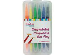 HM Studio Omyvatelné duo fixy 12 barev