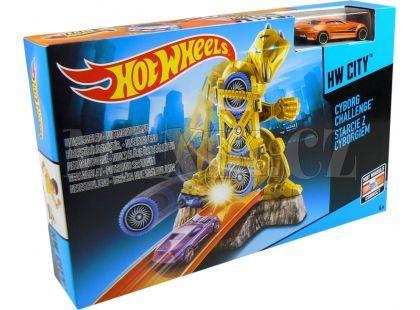 Hot Wheels BGH87 Dráha závodní překážky - Cyborg Challenge