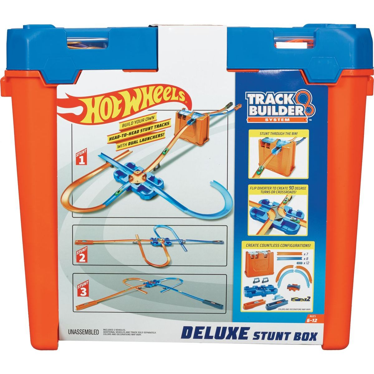 Mattel Hot Wheels track builder box plný triků