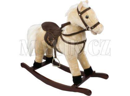 Houpací kůň se sedlem - světlehnědý