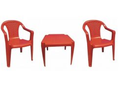 Ipae sada 2 židličky se stolečkem červená