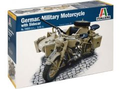 Italeri Model Kit military 7403 German Military Motorcycle with Sidecar 1:9