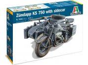 Italeri Model Kit military 7406 Zundapp KS 750 with sidecar 1:9