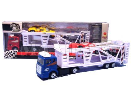 Kamion kovový se 2 autíčky