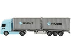 Kamion s kontejnery plast 33cm na setrvačník na baterie se světlem se zvukem v krabici 37x15x8cm