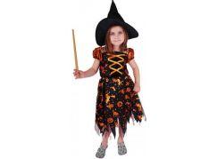 Rappa Karnevalový kostým čarodějnice halloween s kloboukem vel. M