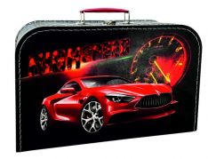 Kazeto Kufřík závodní auto černo červený 35 cm
