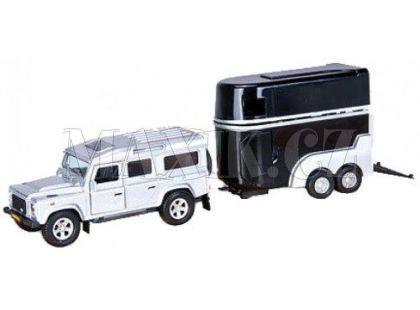 Kids Globe Land Rover Defender s přívěsem pro koně - Stříbrné auto černý přívěs