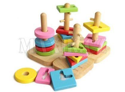 KidsHome Dřevěný motorický labyrint geometrické tvary