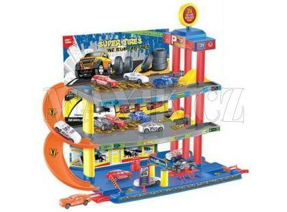 KidsHome Garáž 2 patra s dráhou a 6 aut