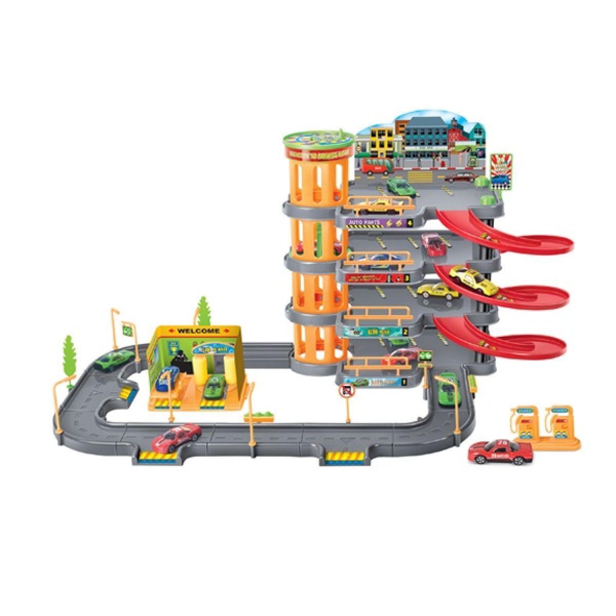 KidsHome Garáž 3 patra s dráhou a 4 auta