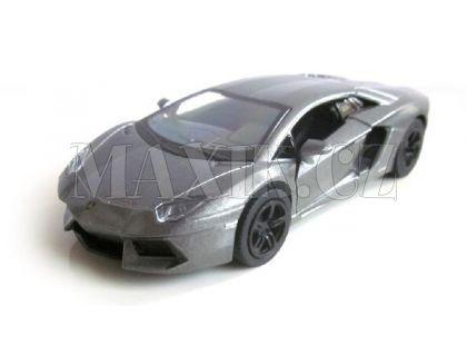 Kinsmart Auto Lamborghini Aventador na zpětné natažení 13cm - Stříbrná