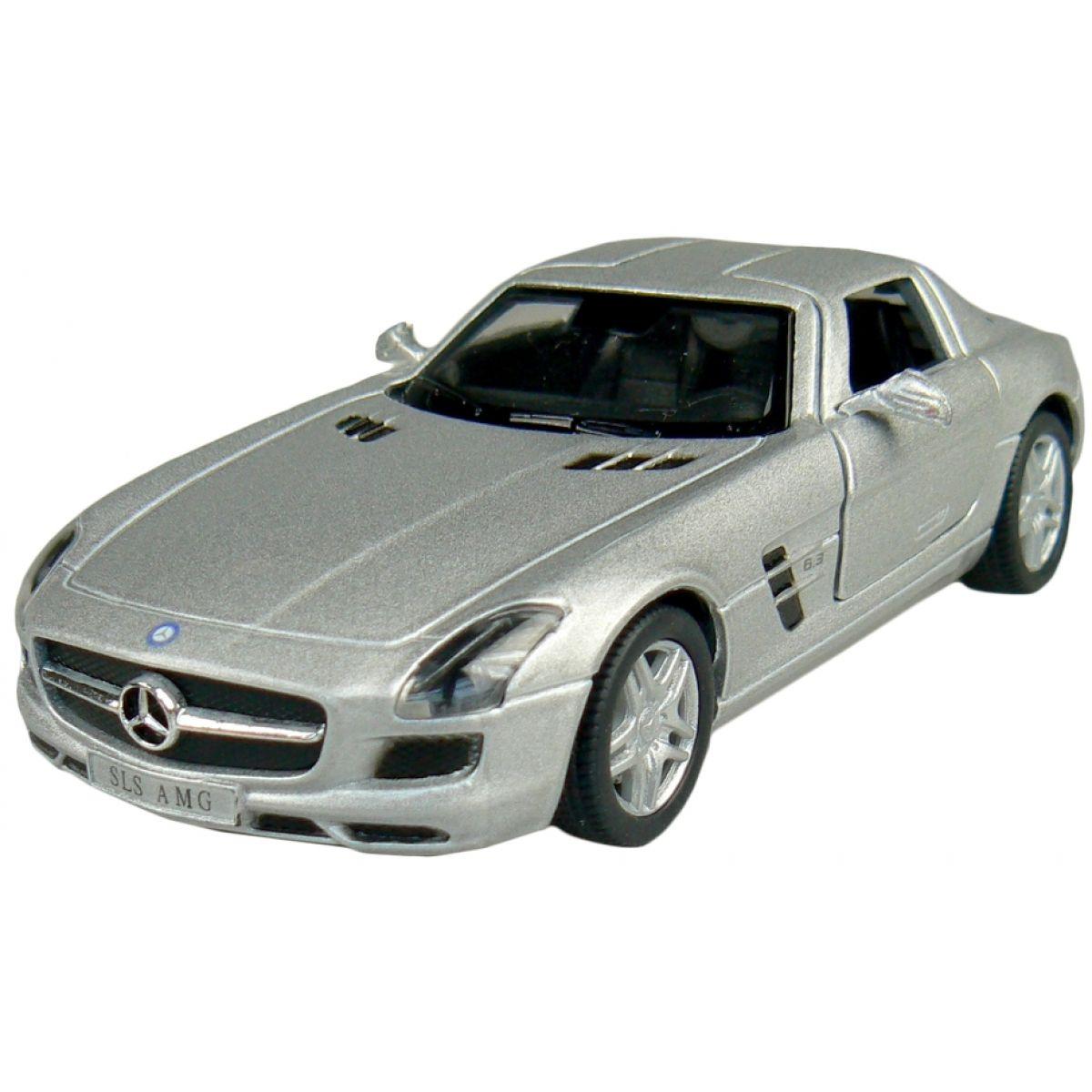 Kinsmart Auto Mercedes Benz SLS AMG na zpětné natažení 13cm - Stříbrná