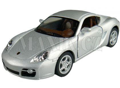 Kinsmart Auto Porsche Cayman S na zpětné natažení 13cm - Stříbrná