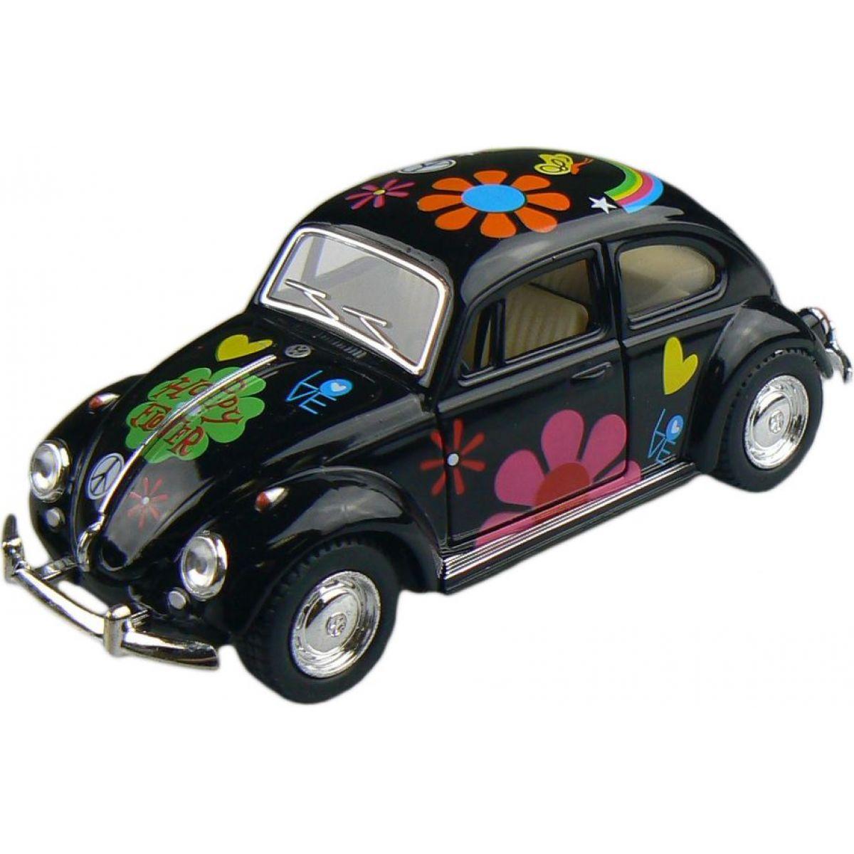 Kinsmart Auto Volkswagen Beetle hippies na zpětné natažení 13cm - Černá
