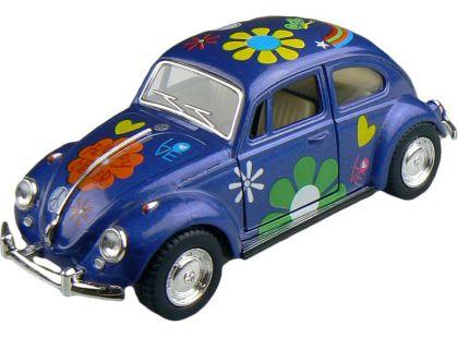 Kinsmart Auto Volkswagen Beetle hippies na zpětné natažení 13cm - Modrá