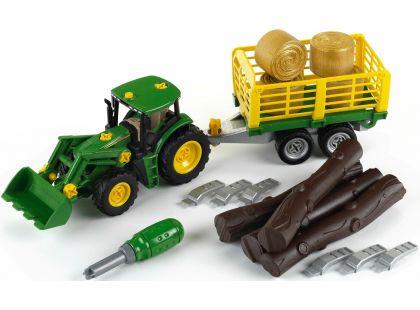 Klein John Deere Traktor s přívěsem na dřevo a seno