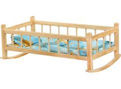 Kolébka dřevěná extra velká 60 cm pro panenky s peřinkou