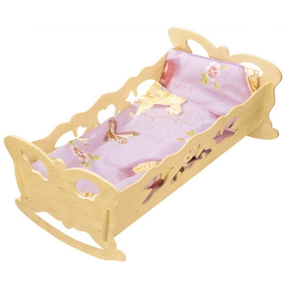Kolébka pro panenky dřevěná extra velká 47 cm panenky s peřinkou medvídek