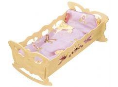 Kolébka pro panenky dřevěná extra velká 47 cm panenky s peřinkou motýl