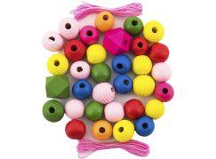 Korálky dřevěné barevné MAXI s gumičkami 54ks v malé plastové dóze 7x11cm