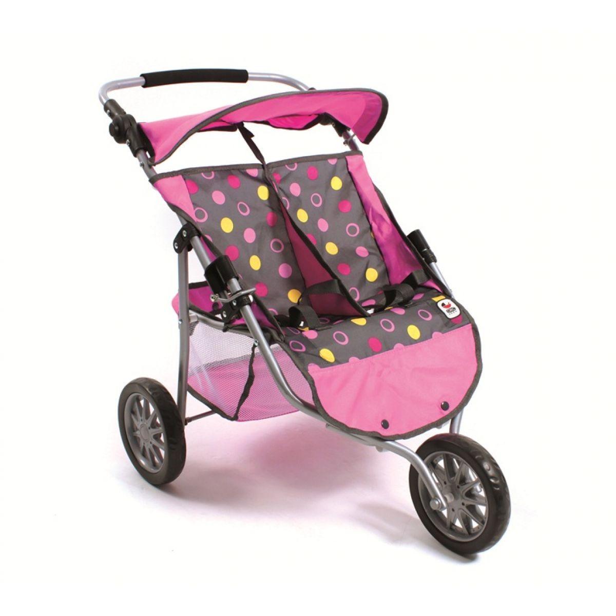 Kočárek pro dvojčata panenky JOGGER- funny pink