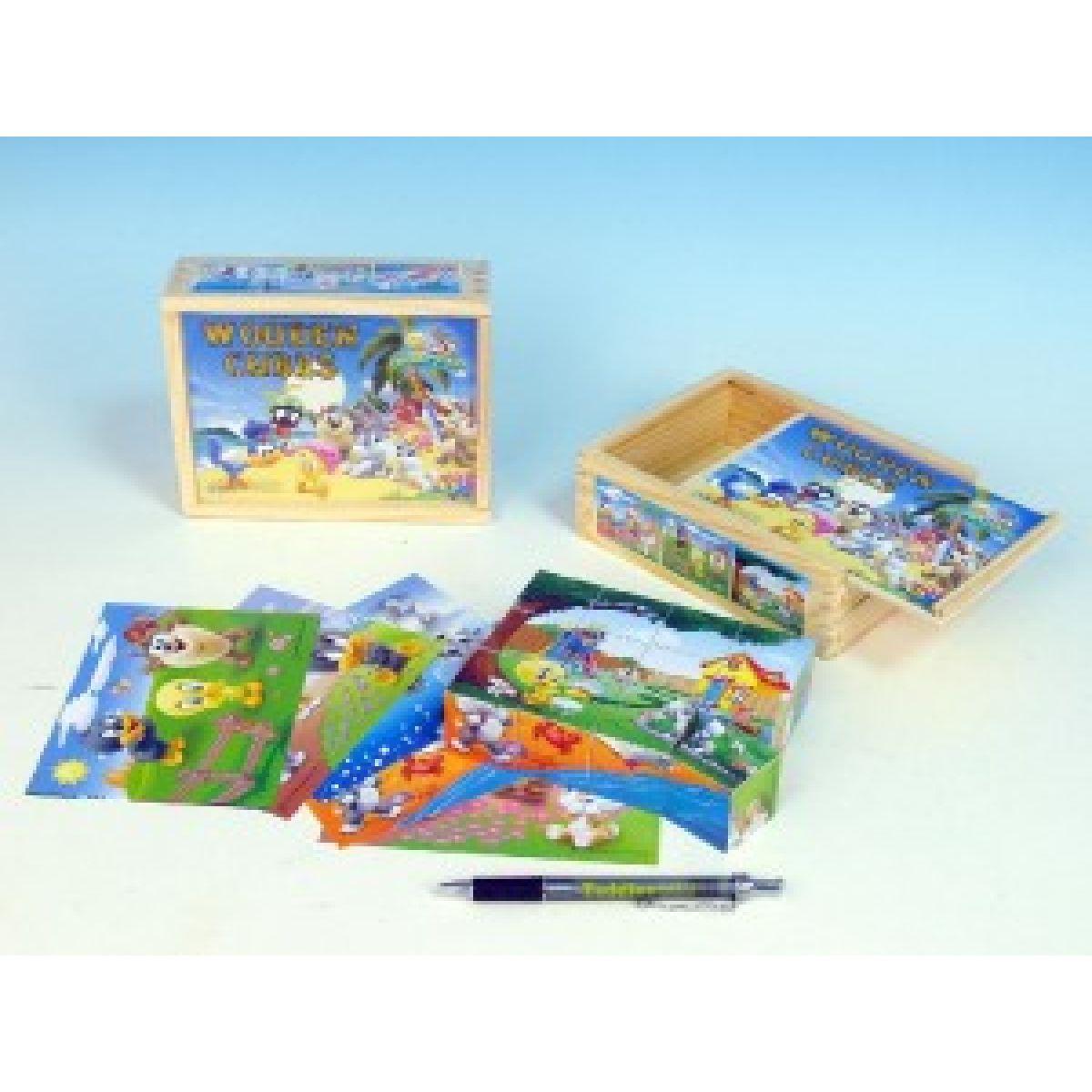 Kostky dřevěné Baby Looney tunes 12 ks