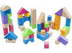 Kostky pěnové barevné měkké 60ks imitace dřeva v plastové tašce