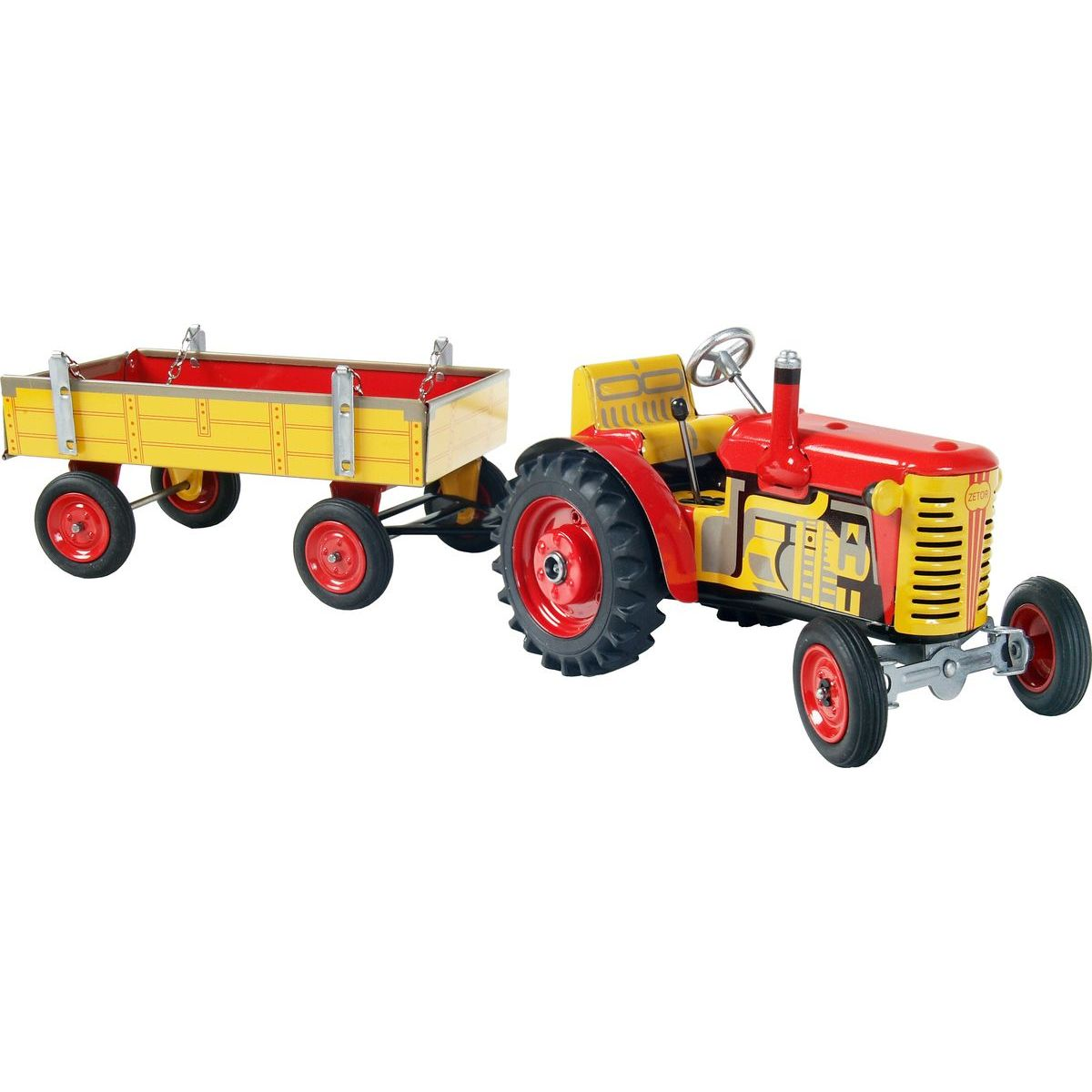 Kovap Traktor Zetor s valníkem červený kovové disky