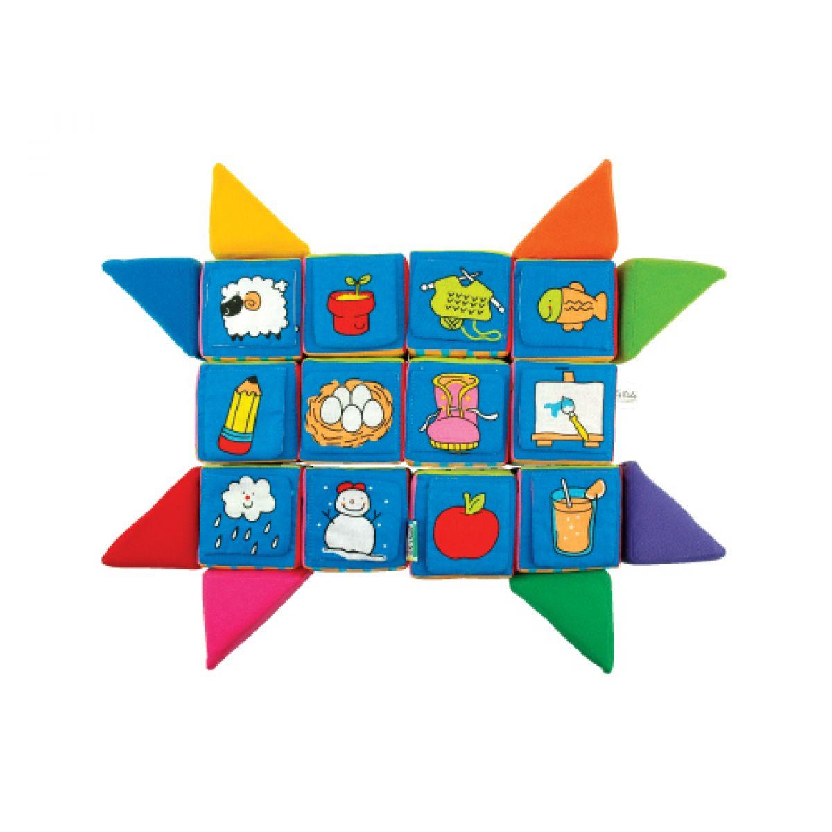 K's Kids Sada veselých látkových kostek a trojúhelníků #7