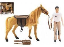 Kůň fliška česací s doplňky + žokej plast