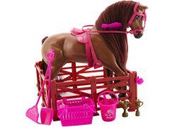 Kůň s doplňky a ohradou  tmavě hnědý kůň