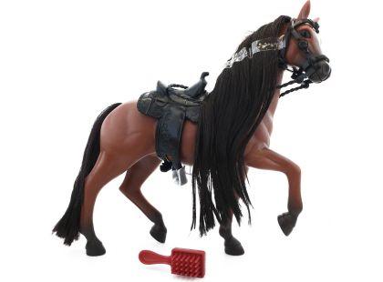 Kůň s hřebenem 18 cm - Hnědý s černou hřívou