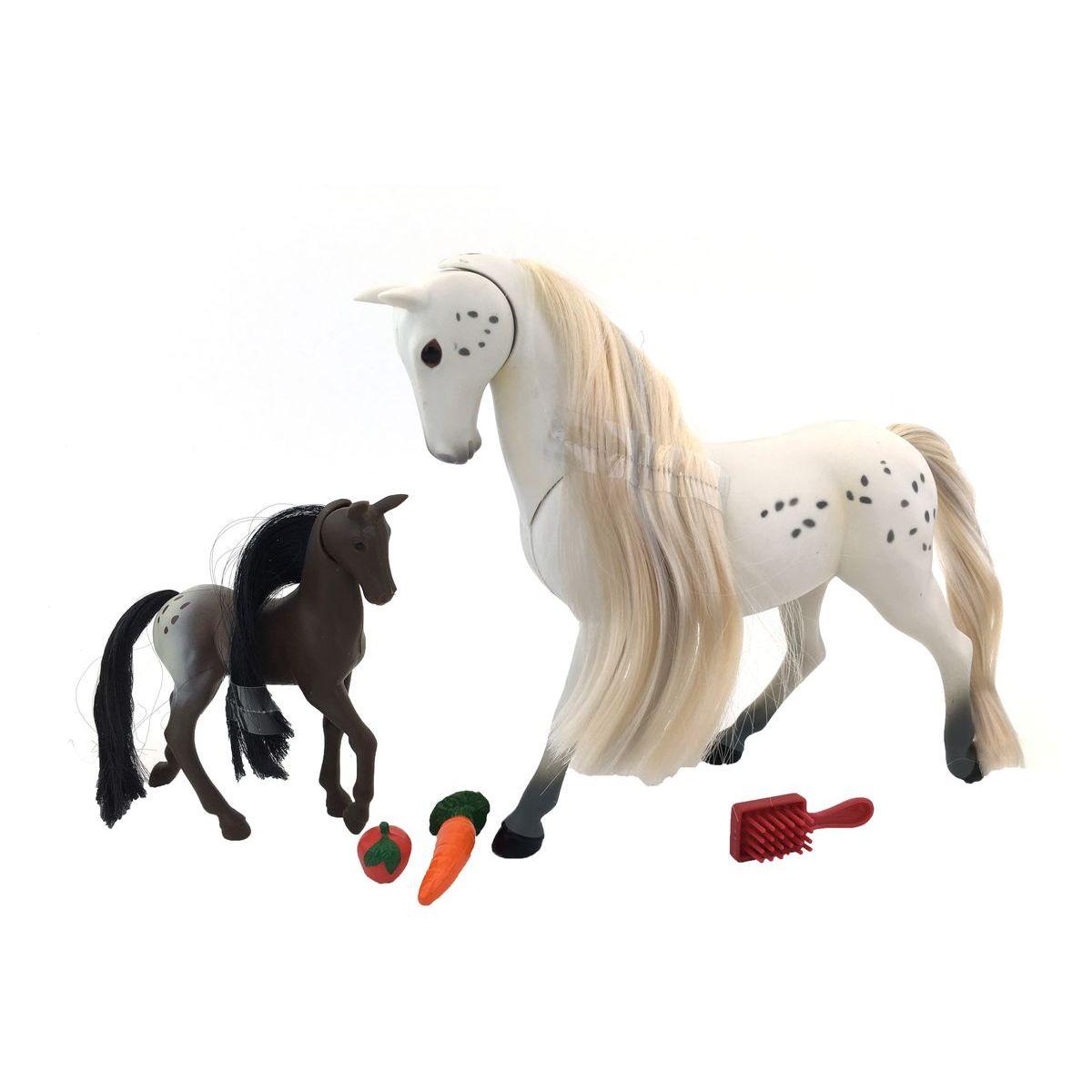 Kůň s hříbětem 18 cm - Bílá