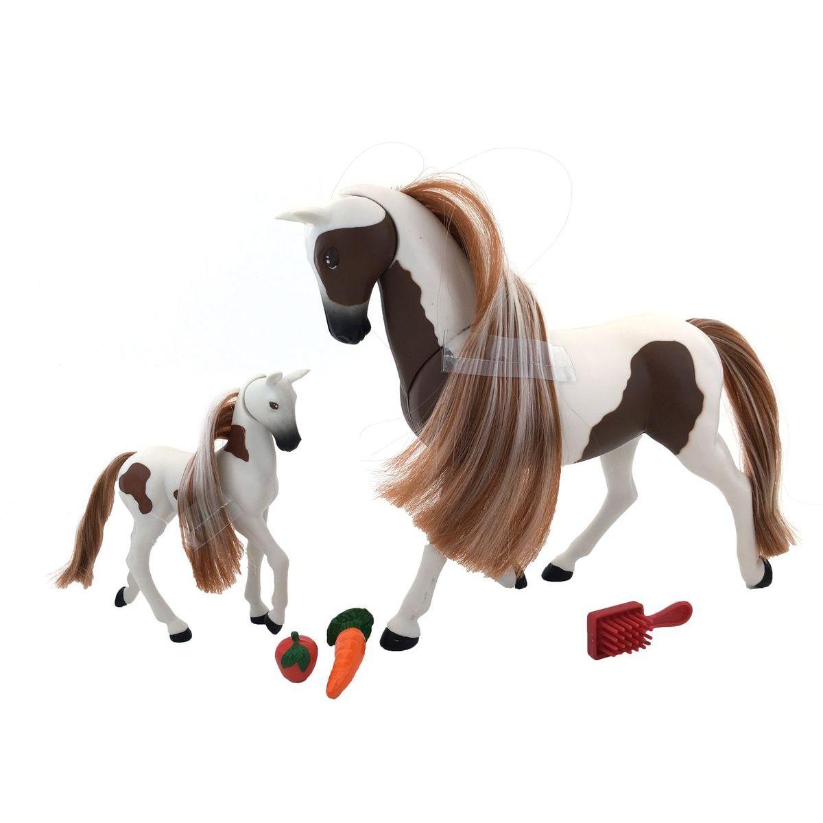 Kůň s hříbětem 18 cm - Hnědo-Bílá