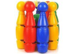 Kuželky dětské velké 27 cm plastové v košíku dvě koule