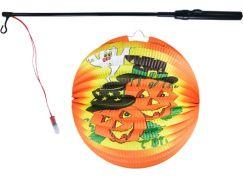 Lampion Halloween koule Veselé dýně se svítící hůlkou a čajovou svíčkou