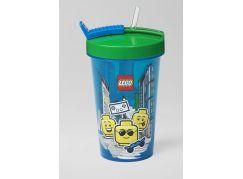 LEGO Iconic Boy láhev s brčkem - modrá zelená
